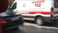 Turkish Interior Minister Selami Altinok Turkish Justice Minister Kenan Ipek and Turkish Health Minister Mehmet Muezzinoglu come to the site of an...