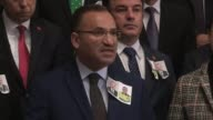 Turkish Justice Minister Bekir Bozdag delivers a speech at a press conference after funeral ceremony for police officer Fethi Sekin and courthouse...