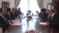 Turkish Minister of Foreign Affairs Mevlut Cavuusoglu meets with Foreign Minister of Tunisia Khemaies Jhinaoui in Ankara Turkey on June 15 2017