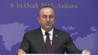 Turkish Minister of Foreign Minister Mevlut Cavusoglu attend press conference after '9th Ambassadors Conference' in Ankara Turkey on January 14 2017...