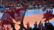 Turkish players celebrate after winning the Men's volleyball final match between Turkey and Ukraine within the 23rd Summer Deaflympics 2017 at...