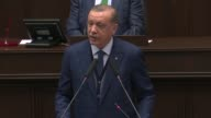 Turkish President and Chairman of the Justice and Development Party Recep Tayyip Erdogan delivers a speech during the AK Party's group meeting at the...