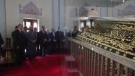 Turkish President Recep Tayyip Erdogan accompanied by Turkish Minister of Energy and Natural Resources Berat Albayrak and Speaker of the Grand...