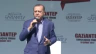 Turkish President Recep Tayyip Erdogan addresses citizens at an opening ceremony for infrastructure projects in southeastern Gaziantep province...
