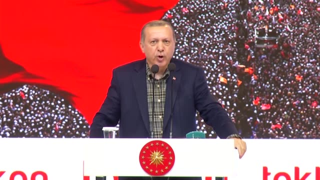Turkish President Recep Tayyip Erdogan addresses the crowd at Yahya Kemal Beyatli Show Center during an event organized for the people of Tokat in...