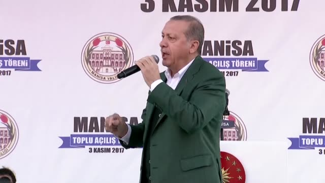 Turkish President Recep Tayyip Erdogan addresses the crowd during opening ceremonies of smart phone factory cobalt facility in Manisa Turkey on...