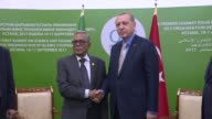 Turkish President Recep Tayyip Erdogan and Bangladeshi President Abdul Hamid hold a meeting on the sidelines of the Organisation of Islamic...