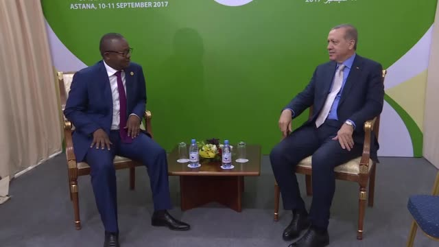 Turkish President Recep Tayyip Erdogan and GuineaBissau Prime Minister Umaro Sissoco Embalo hold a meeting on the sidelines of the Organisation of...
