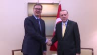 Turkish President Recep Tayyip Erdogan and his Serbian counterpart Aleksandar Vucic hold a meeting on the sidelines of the 72nd United Nations...
