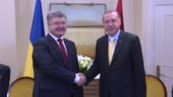 Turkish President Recep Tayyip Erdogan and his Ukrainian counterpart Petro Poroshenko hold a meeting on the sidelines of the 72nd United Nations...