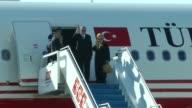 Turkish President Recep Tayyip Erdogan and his wife Emine Erdogan depart for Belgium from Esenboga Airport for NATO summit on May 24 2017 in Ankara...