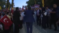 Turkish President Recep Tayyip Erdogan and his wife Emine Erdogan march with hundreds of thousands of citizens to attend July 15 Democracy and...