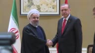 Turkish President Recep Tayyip Erdogan and Iranian President Hassan Rouhani hold a meeting ahead of the Organisation of Islamic Cooperation's Summit...