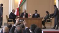 Turkish President Recep Tayyip Erdogan and Madagascar President Hery Rajaonarimampianina and their accompanying ministers and officials attend a...