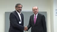 Turkish President Recep Tayyip Erdogan and Pakistani Prime Minister Shahid Khaqan Abbasi hold a meeting on the sidelines of the 72nd United Nations...