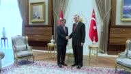 Turkish President Recep Tayyip Erdogan and Prime Minister Ahmet Davutoglu hold a meeting at the presidential complex in Ankara Turkey on May 19 2016