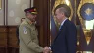 Turkish President Recep Tayyip Erdogan and Turkish Land Forces Commander Salih Zeki Colak meet Pakistan Chief of Army Staff Gen Qamar Javed Bajwa at...