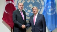 Turkish President Recep Tayyip Erdogan and United Nations Secretary General Antonio Guterres hold a meeting on the sidelines of the 72nd United...