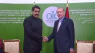 Turkish President Recep Tayyip Erdogan and Venezuelan President Nicolas Maduro hold a meeting on the sidelines of the Organisation of Islamic...