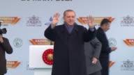 Turkish President Recep Tayyip Erdogan attends a mass opening ceremony in Gaziosmanpasa district of Istanbul Turkey on March 26 2017