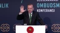 Turkish President Recep Tayyip Erdogan attends international meeting on ombudsman institutions in Istanbul Turkey on September 25 2017 Turkey will...
