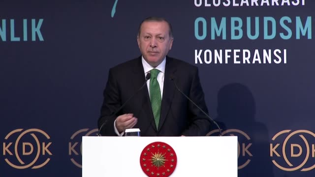 Turkish President Recep Tayyip Erdogan attends international meeting on ombudsman institutions in Istanbul Turkey on September 25 2017 Turkey will...