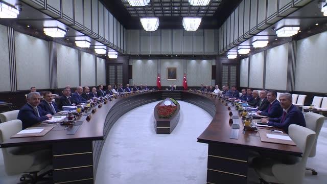 Turkish President Recep Tayyip Erdogan chairs Cabinet meeting at presidential complex in Ankara Turkey on August 15 2017 Prime Minister Binali...
