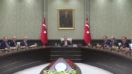Turkish President Recep Tayyip Erdogan chairs Cabinet meeting at the presidential complex in Ankara Turkey on September 22 2017 Turkish Prime...