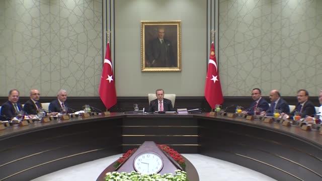 Turkish President Recep Tayyip Erdogan chairs Cabinet meeting at the presidential complex in Ankara Turkey on September 22 2017 Turkish Prime...