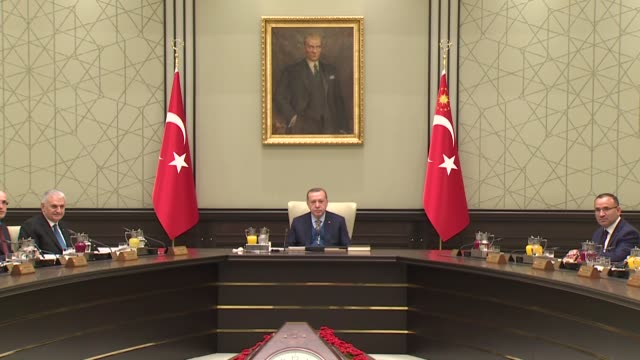 Turkish President Recep Tayyip Erdogan chairs Cabinet meeting at the presidential complex in Ankara Turkey on November 20 2017 Turkish Prime Minister...