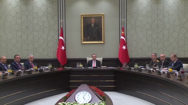 Turkish President Recep Tayyip Erdogan chairs National Security Council meeting at the presidential complex in Ankara Turkey on September 22 2017...