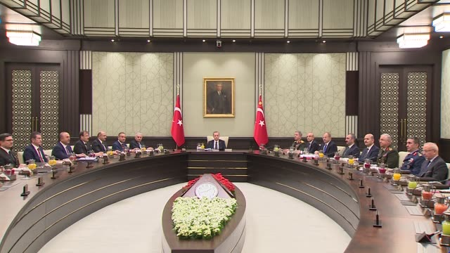 Turkish President Recep Tayyip Erdogan chairs National Security Council meeting at the presidential complex in Ankara Turkey on October 16 2017...
