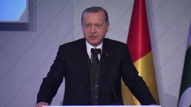 Turkish President Recep Tayyip Erdogan delivers a speech at the 9th Summit of the Developing Eight Organization for Economic Cooperation in Istanbul...