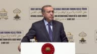 Turkish President Recep Tayyip Erdogan delivers a speech at the opening ceremony of the International Forum on AlQuds Waqfs at Halic Congress Center...