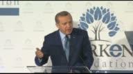 Turkish President Recep Tayyip Erdogan delivers a speech during TURKEN Foundation's dinner in New York United States on September 22 2016 The Turkish...