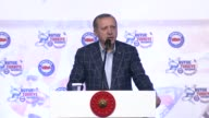 Turkish President Recep Tayyip Erdogan delivers a speech during Confederation of Public Servants Trade Unions meeting at Manavgat Starlight Hotel in...
