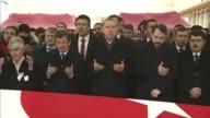 Turkish President Recep Tayyip Erdogan former Prime Minister Ahmet Davutoglu Energy Minister Berat Albayrak and Istanbul Governor Vasip Sahin attend...