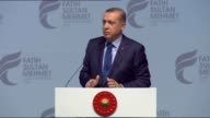 Turkish President Recep Tayyip Erdogan gives a speech during a graduation ceremony of Fatih Sultan Mehmet University at Halic Congress Center in...