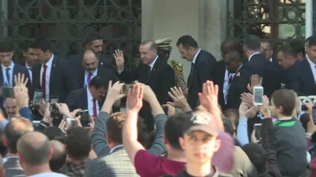 Turkish President Recep Tayyip Erdogan Guinean President Alpha Conde Pakistani Prime Minister Shahid Khaqan Abbasi and Turkish Foreign Minister...