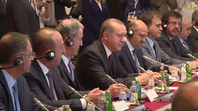 Turkish President Recep Tayyip Erdogan his Serbian counterpart Aleksandar Vucic and their accompanying delegations hold a meeting at the Palace of...