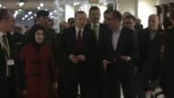 Turkish President Recep Tayyip Erdogan his wife Emine Erdogan and their accompanying delegation arrive in Doha Qatar on February 14 2017 Turkish...