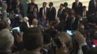 Turkish President Recep Tayyip Erdogan his wife Emine Erdogan and Turkish Prime Minister Binali Yildirim his wife Semiha Yildirim greet supporters as...