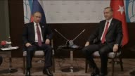 Turkish President Recep Tayyip Erdogan holds a bilateral meeting with Russian President Vladimir Putin on the sidelines of the G20 Turkey Leaders...