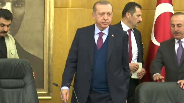 Turkish President Recep Tayyip Erdogan holds a press conference ahead of his departure to Russia for an official visit at Ataturk International...