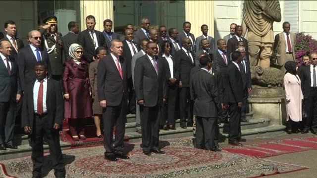 Turkish President Recep Tayyip Erdogan is welcomed by Ethiopian Prime Minister Hailemariam Desalegn with an official welcoming ceremony at the...