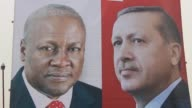 Turkish President Recep Tayyip Erdogan joins his Ghanaian counterpart at the groundbreaking for construction on a new terminal at Kotoka...