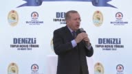 Turkish President Recep Tayyip Erdogan makes a speech during a mass opening ceremony at the July 15 Martyrs square in Denizli Turkey on March 24 2017...