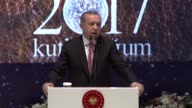 Turkish President Recep Tayyip Erdogan makes a speech during a conference within the Holy Birth Week celebrations at Istanbul Congress Center in...