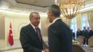 Turkish President Recep Tayyip Erdogan meet NATO Secretary General Jens Stoltenberg at Cankaya Presidential Palace in Ankara Turkey on October 9 2014...