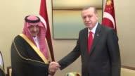 Turkish President Recep Tayyip Erdogan meets Crown Prince Muhammad bin Nayef of Saudi Arabia in New York United States on September 21 2016 World...